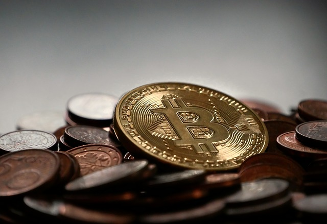různé mince, nahoře Bitcoin