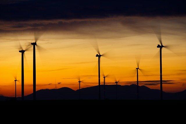 pole s větrnými turbínami