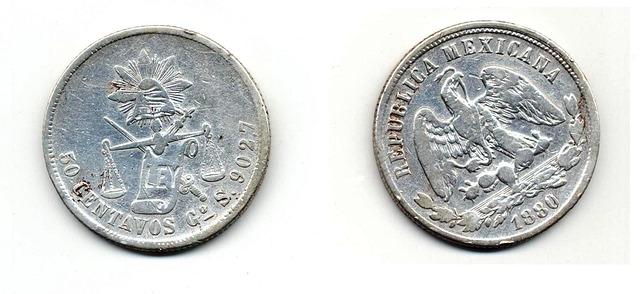 stříbrná mince, rub, líc, Mexiko